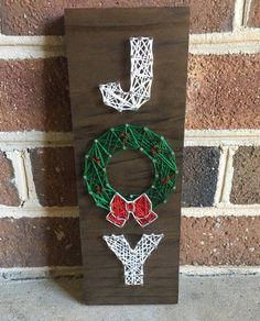 Joy Holiday Wreath String Art Wood Sign by CuseyCustomCrafts