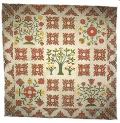 "Album Appliqué Summer Spread        c. 1850's  Pennsylvania  84"" X 84""  Cotton. Appliqué. The central tree and bird motif and the four large floral appliqués counterbalance the intensity of the smaller red and white blocks. The energetic border continues to expand the overall visual impact. From the collection of Marcia and Ron Spark"