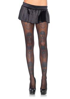 Laughing Shimmer Skull Print Spandex Sheer Pantyhose - Leg Avenue - OS #laughingpringpantyhose #pantyhose #legave #legavenue #trickortreathalloween #tot #csam #costumestoreandmore