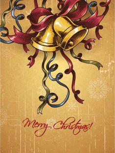 christmas vector illustration with bells Vector Graphics, Vector Art, Christmas Holiday, Xmas, Vectors, Design Art, Celebration, December, Symbols