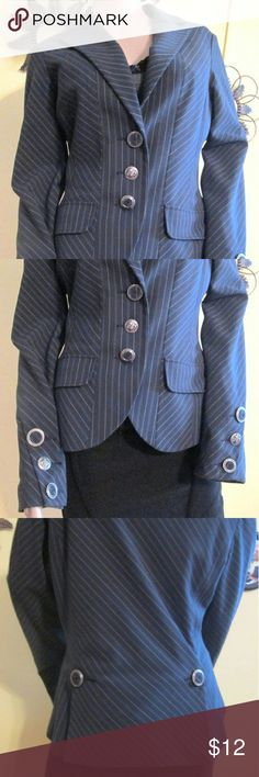 "Blue Pin Stripe Blazer Jacket Size 6 Blue pin stripe Blazer with fun polka dot Lining. Label D Studio Measurements: Sleeves: 25"" Bust: 34"" Shoulder: 15"" Length for Shoulder to Bottom Hem: 24""  Stunning Details Include: Decorative Buttons: (silver and Fabric) 3 Front (2 fabric and 1 metal crest design) 3 Sleeve (2 fabric and 1 metal crest design) 2 On Back Flaps (silver metal and fabric) 2 Front Flap Mock Pockets. Very Good Condition d studio Jackets & Coats Blazers"