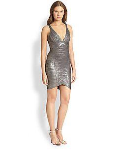 Herve Leger Metallic Bandage Dress/Saks