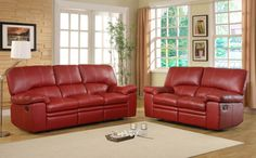 2 pc Kendrick collection red bonded leather match upholstered double reclining sofa and love seat set. This set features a sofa with a recliner on each end and a love seat with a recliner on each end. In a departure from the expected scale of contemporary seating, the substantially designed˜ Kendrick Collection will be a welcome addition to your living room.