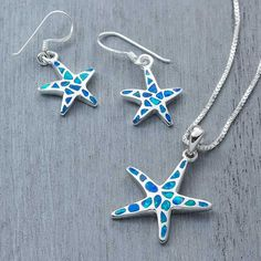 Blue opal Sterling silver starfish necklace and matching earrings !