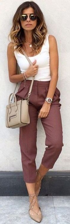 #fall #trending #outfits   White Top + Wine Pants
