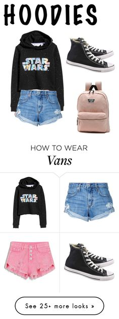 """""""Go HOODIES"""" by xoxounipus on Polyvore featuring WithChic, H&M, Nobody Denim, Converse, Vans and Hoodies"""