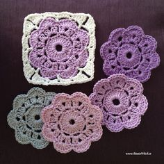 maybelle flowers made by bautawitch Crochet Diy, Crochet Motifs, Crochet Blocks, Crochet Squares, Love Crochet, Crochet Crafts, Yarn Crafts, Crochet Flowers, Crochet Projects
