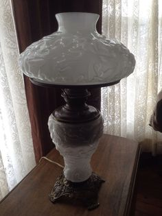 Antique Success Pittsburgh Lamp Electrified Icy White Glass