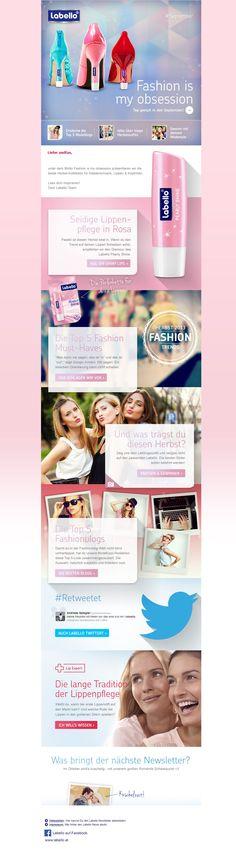 Labello Newsletter nach dem Redesign mit Fokus auf Stories, Content und Conversion Optimierung. Website Designs, Design Websites, Website Layout, Web Design, Design Web