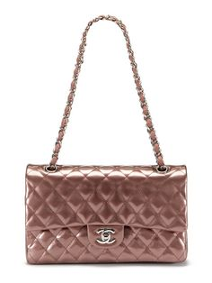 Chanel Bronze Patent Classic Large Classic 2.55 Double Flap