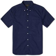 Beams Plus Button Down Broadcloth Short Sleeve Shirt (Navy)