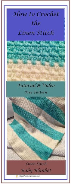 Learn how to crochet the linen stitch. Step-by-step directions and video tutorial to help you learn how to master the linen stitch. https://patternprincess.com #crochet #tutorial #linenstitch #howto #babyblanket #afghan #crocheting #crochetpattern #handmade #DIY
