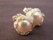 Pearl Post Earrings with Crochet Sterling Silver Wire