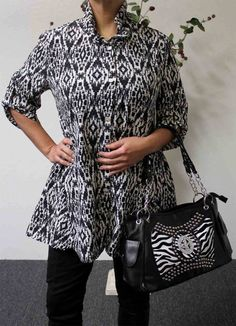 Exclusive Travelers Designer plus size blouse, wrinkle free M to 3XL