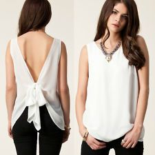New Women's Clothes Chiffon Cut Out Bow Back Top Shirt Tank Blouse