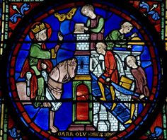 """""""Charlemagne overseeing the construction of a church"""", Panel 13 from the Legends of Charlemagne window in Chartres Cathedral, c.1225"""
