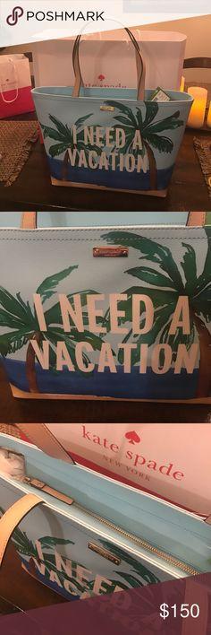 Kate Spade Need A Vacation Francis Tote Kate Spade Need A Vacation Francis Tote. NEW WITH TAGS!  Zippered Tote, inside zip pocket kate spade Bags Totes