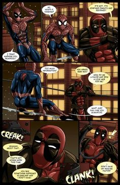 "Page 3 of my #Spideypool comic ""Never Say Never"" cuz I ♥ #Spiderman and #Deadpool"