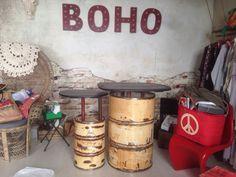 Mostrador barril metalico 100% reciclado para BOHO shop by A.G new use
