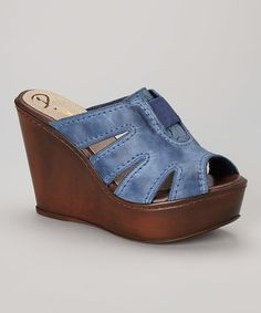 Take a look at the Passarela Brazil Marino Peep-Toe Leather Wedge Sandal on #zulily today!