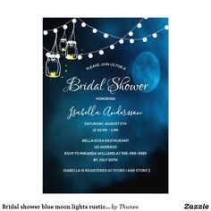 Shop Bridal shower blue moon lights rustic mason jars invitation created by Thunes. Blue Mason Jars, Rustic Mason Jars, Painted Mason Jars, Mason Jar Invitations, Zazzle Invitations, Shower Invitations, Invite, Bridal Shower Party, Bridal Shower Rustic