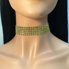 Glitzy Rhinestone Choker - 1 in. Gold  Adjustable with lobster clasp and extender chain....   https://nemb.ly/p/N1bqqr_6b