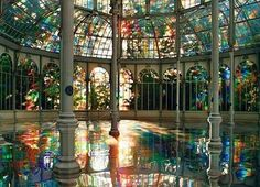 """The Crystal Palace, Madrid, Spain. The Palacio de Cristal (""""Crystal Palace"""") is a glass and metal structure located in Madrid's Buen Retiro Park. The Crystal Palace, Crystal Palace Madrid, Crystal Room, Crystal Castle, Glass Crystal, Oh The Places You'll Go, Places To Visit, Beautiful World, Beautiful Places"""