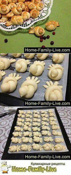 Turkey or birds lol (Baking Bread Rolls) Bread And Pastries, Cute Food, Good Food, Yummy Food, Art Du Pain, Bread Shaping, Bread Art, Food Decoration, Snacks