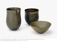 Jennifer Lee (UK)- ceramics. Lee's pots are hand built and she has developed a method of colouring them by mixing metallic oxides into the clay before making.