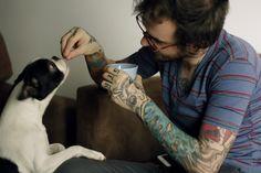 Sleeved guy feeding his dog. #tattoo #tattoos #ink