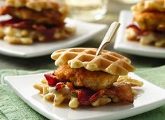 Fried Chicken 'n Waffle Sandwich Bites - Make these cute snacks or appetizers up to 1 day ahead of time and reheat them in the oven at 350°F for about 10 minutes. Spread Maple-Bourbon Butter on waffles, and assemble just before serving.