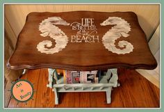 "Sea Horse ""beachy"" Magazine Rack End Table Makeover - Come check out a cute little makeover I did on this old magazine rack end table. I painted the bottom and…"