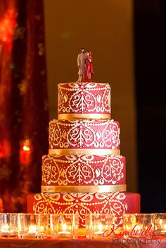 Custom Indian wedding cake-Red and Gold  by The Cake Zone