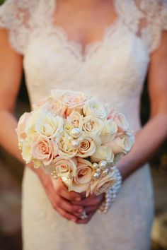 Pale Rose Bouquet With Pearl Accents | photography by http://www.kristynhogan.com/