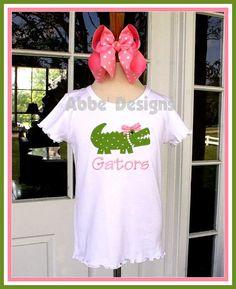 78809d35 Items similar to Monogrammed Alligator Applique T Shirt - Tee - Alligator -  Preppy Gator - Florida Gators - Custom Monogram Color - Abbe' Designs on  Etsy