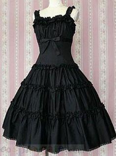 Black Short Sleeves Cotton Lolita Dress