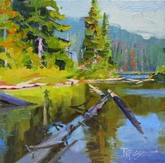 """Daily Paintworks - """"Lake Eleanor oil, landscape painting by Robin Weiss in the Randy Higbee 6"""" - Original Fine Art for Sale - © Robin Weiss"""