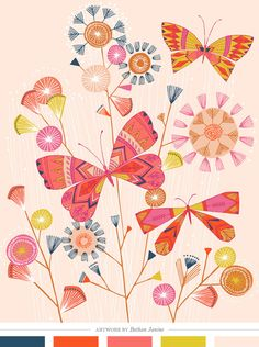 Color Inspiration Daily: 05. 20. 14 coral, orange, navy and lime :) butterfly garden by bethan janine