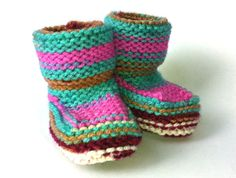 Colourful Cosy Hand Knitted Baby Booties Age 0 - 6 Months, 6-12 Months or 12-18 Months. Candy Pink, Teal Blue, Burgundy Red, Tan and White - pinned by pin4etsy.com