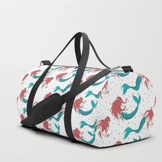 We upped the Duffle Bag game. Your new favorite gym and travel bags feature crisp printed designs on durable poly poplin canvas. Constructed with premium details for ultimate comfort. Available in three sizes.    #marine #mermaid #mer #people #woman #girl #ariel #water #underwater #sea #creature #summer #cute #kawaii #pattern #buy #shopping #art #redhaired #red #hair #faerieshop #society6 #gym #travel #bag #sports #accessories #sportbag #yoga