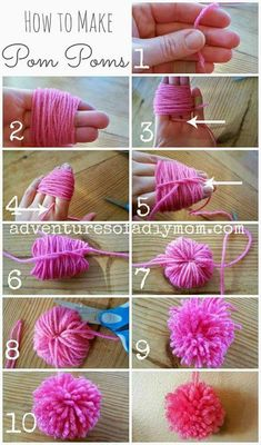 Learn how to make pom poms from yarn. You don't need any fancy tools, just some yarn, your fingers and some scissors. pom Craft How to Make Pom Poms from Yarn Kids Crafts, Diy And Crafts, Arts And Crafts, Diy Crafts With Yarn, Kids Diy, Diy Crafts For Your Room, Diy Crafts For Bedroom, Bunny Crafts, Easy Crafts