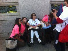 Sisters mingling with war veterans and friends at the WWII memorial. Beta Rhos love Honor Air!