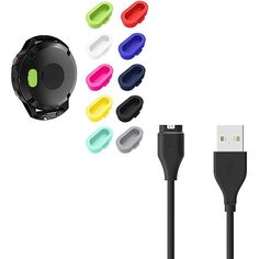 BIGTANG Compatible for Fenix 5 Charging Cable and Charger Port Protectors USB Charging Cable and Dust Plugs for Garmin Vivoactive ** More info could be found at the image url. (This is an affiliate link) Running Gps, Dust Plug, Charging Cable, Plugs, Charger, Usb, Link, Fitness, Image