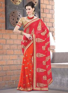 Gorgeous Red And Beige Net And Georgette Saree | Item Code: 2228