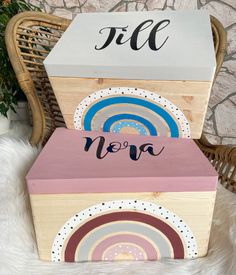 Painted Wooden Boxes, Hand Painted, Wood Creations, Baby Sister, Baby Cribs, Acrylic Painting Canvas, Custom Art, Toy Chest, Diy And Crafts