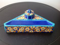 Beautiful French Art Deco Longwy Inkwell and Penholder
