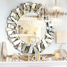 This accent mirror brings a bold cityscape to mind. Unconventional and daring, this accent mirror adds the finishing touch to an ultramodern living or dining room. Entryway Mirror, Mirror Wall Art, Cool Mirrors, Round Wall Mirror, Entryway Decor, Contemporary Wall Mirrors, Modern Contemporary, Antique Wall Decor, Broken Mirror