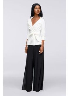 Full, flowing wide-leg pants make a graceful entrance, while a stunning wrap blouse with wide collar and lavish waist tie is flattering on any figure. By Sangria Cotton top, polyester bottom Back zipper Machine wash Imported Mother Of The Groom Suits, Mother Of The Bride Trouser Suits, Bridesmaids And Mother Of The Bride, Mother Of Groom Dresses, Bride Groom Dress, Wedding Bridesmaids, Formal Dresses With Sleeves, Mob Dresses, Bride Dresses