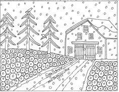 RUG HOOK Craft PAPER PATTERN Red Barn Winter FOLK ART PRIMITIVE Karla Gerard