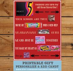 Items similar to Valentine Anniversary Gift DIY Print and Add Candy Editable text area to personalize Candy Poster Husband Boyfriend Gift on Etsy Be My Valentine, Valentine Day Gifts, Valentine Poster, Valentine Ideas, Funny Valentine, Homemade Gifts, Diy Gifts, Homemade Cards, Diy Cadeau